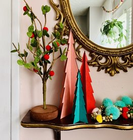 CREATIVECOOP Felt Tree with Green Leaves Red Berries