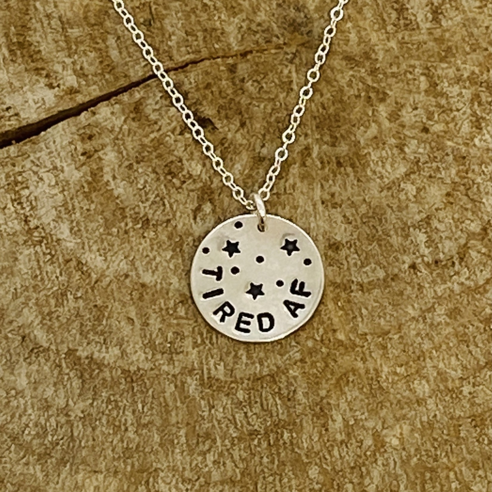 Stamped Silver Statement Necklace