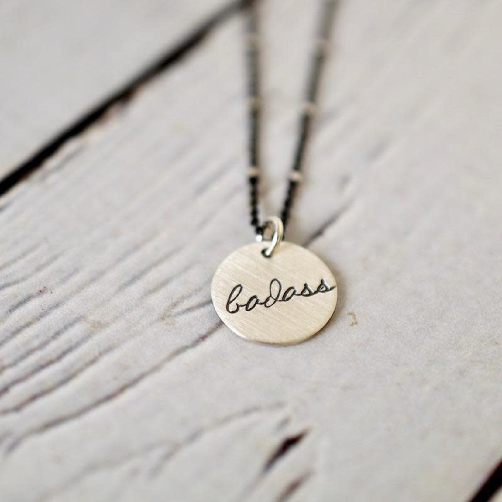 Handstamped Out of Line Charm Necklace