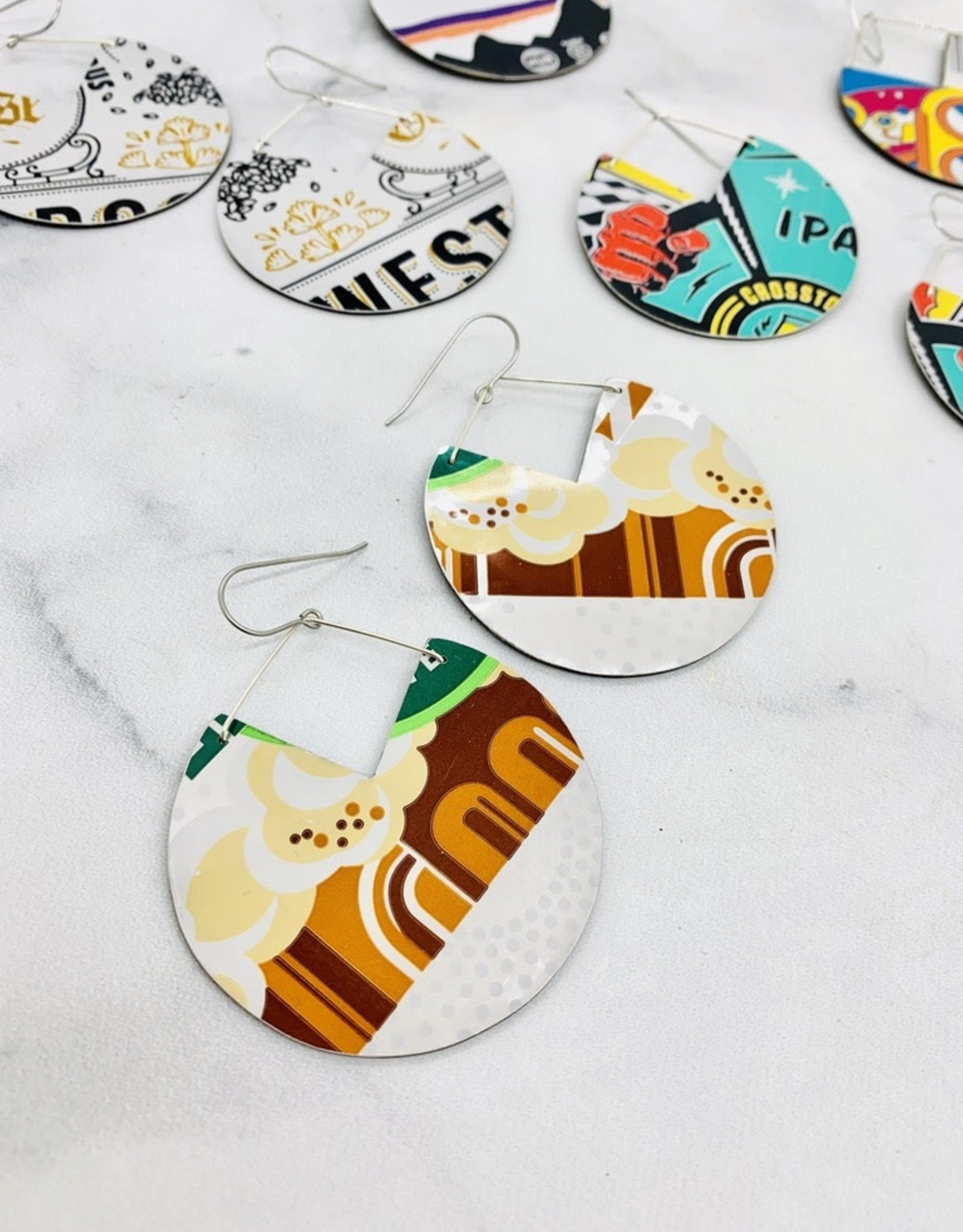 Upcycled Beer Can Earrings, Hops