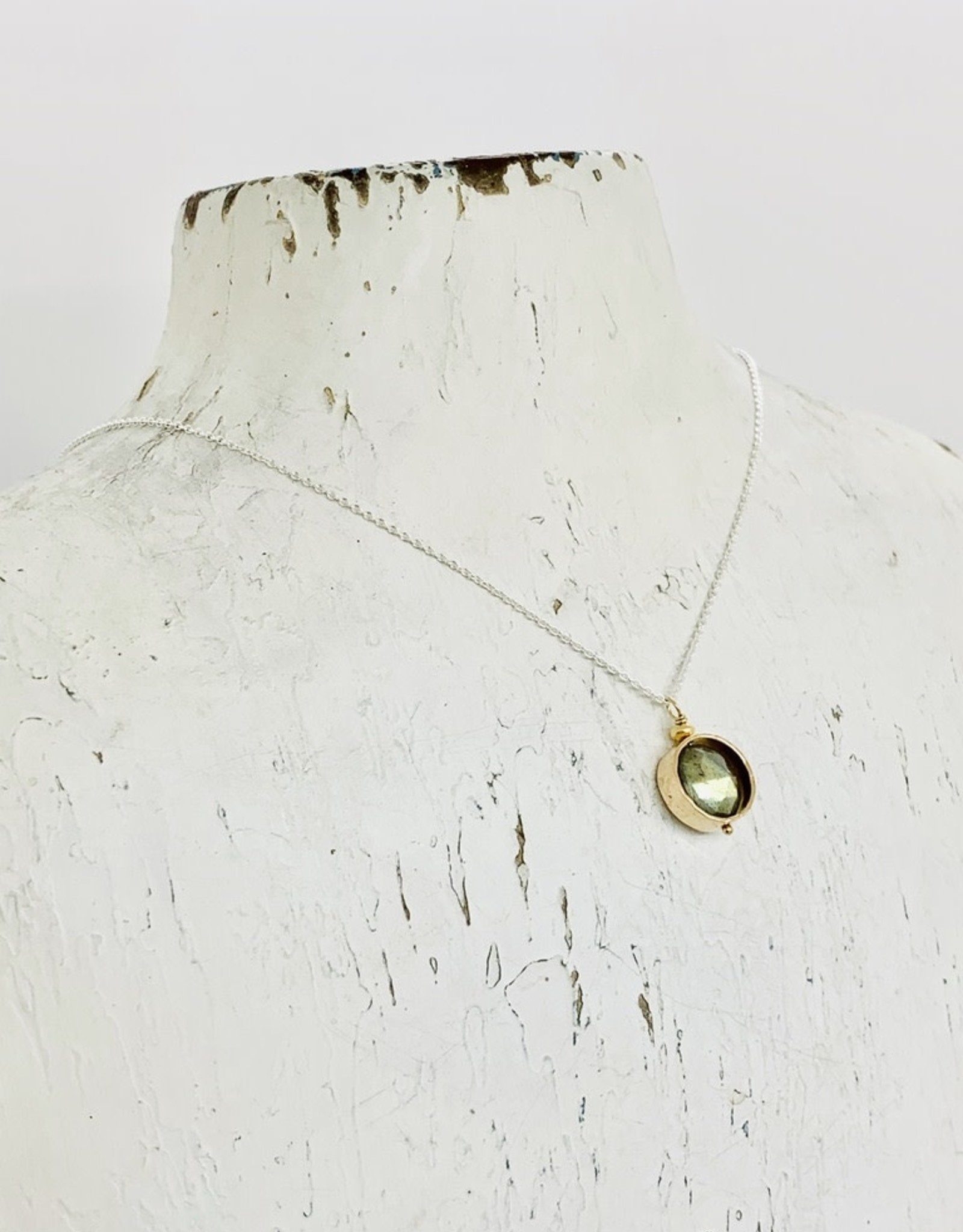 J&I Handmade Necklace with 8mm Faceted Labradorite Coin in 14k Gold Filled Circle on Sterling Chain
