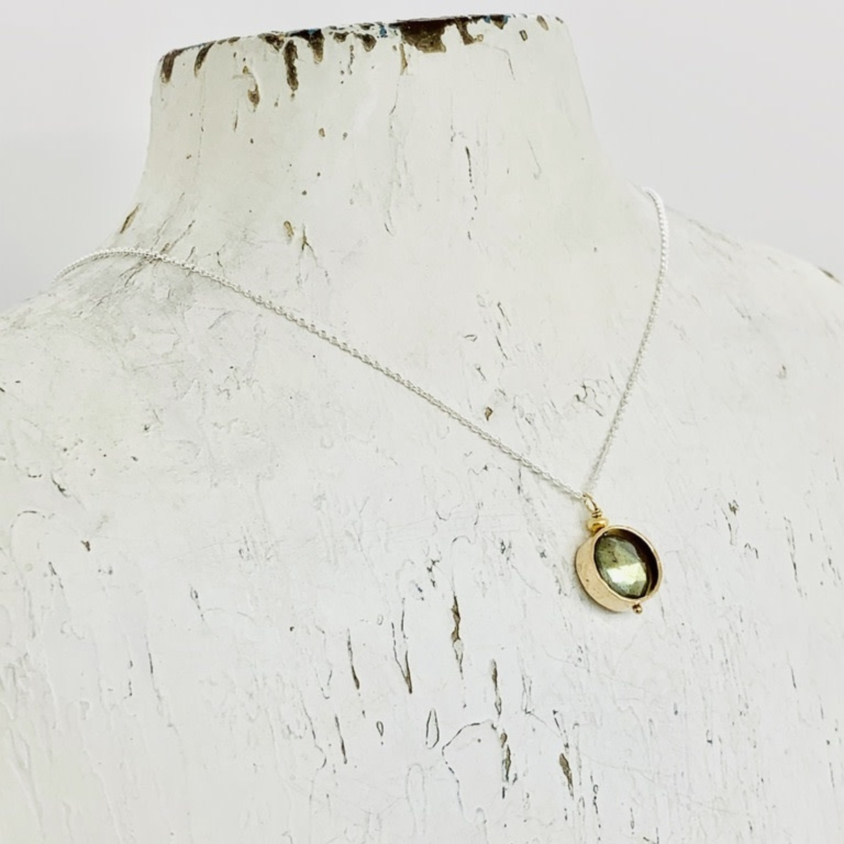 Handmade Necklace with 8mm Faceted Labradorite Coin in 14k Gold Filled Circle on Sterling Chain