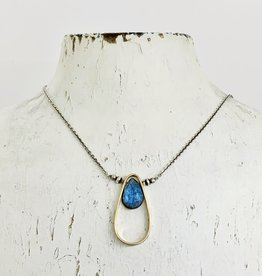 J&I Handmade Faceted 12mm Labradorite pear in a 14ky Gold filled Teardrop Pendant on Oxidized Sterling Chain Necklace