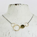 Handmade 8mm Faceted Labradorite Coin in 14kt Gold filled Link on Sterling Chain Necklace