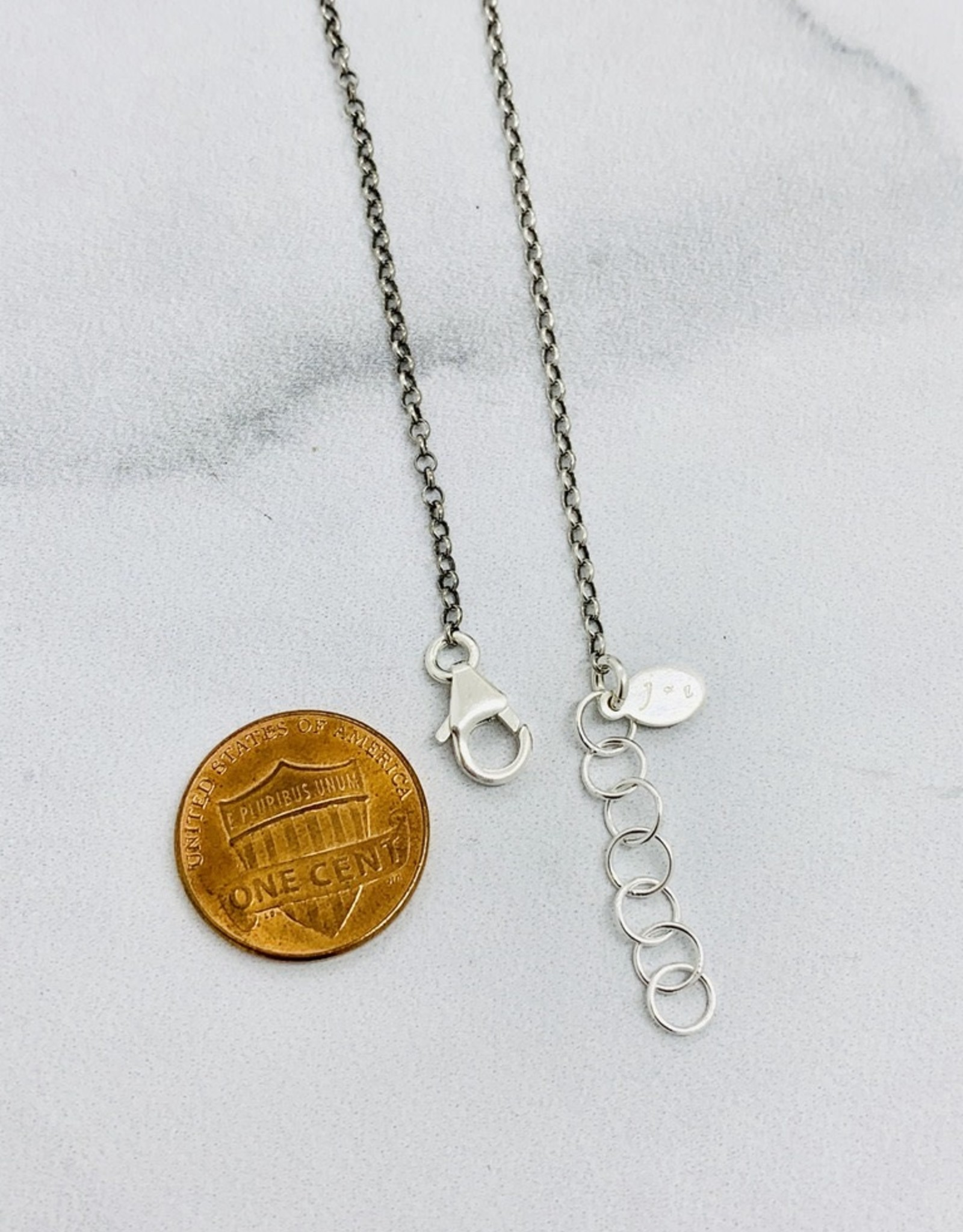J&I Handmade 8mm Faceted Labradorite Coin in 14kt Gold filled Link on Sterling Chain Necklace