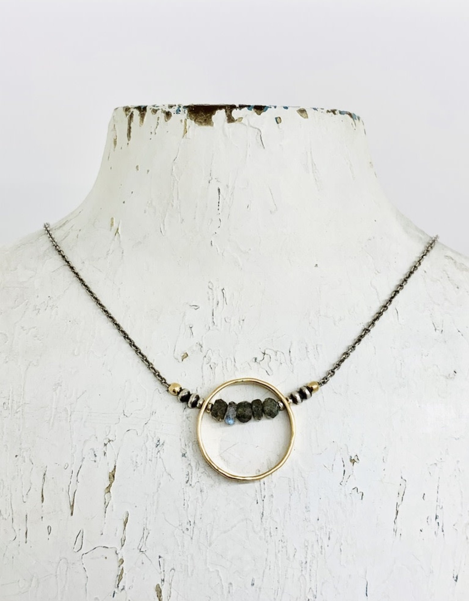 Handmade Necklace with 14kt Gold Filled Circle with Faceted Labradorite on Oxidized Sterling Chain