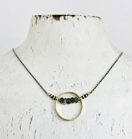 J&I Handmade Necklace with 14kt Gold Filled Circle with Faceted Labradorite on Oxidized Sterling Chain
