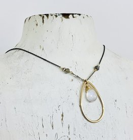 J&I Handmade Necklace with 12mm Faceted Moonstone in 14kt Gold Fill Teardrop on Oxidized Sterling Chain