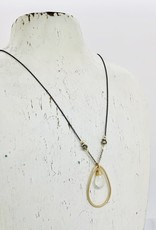 Handmade Necklace with 12mm Faceted Moonstone in 14kt Gold Fill Teardrop on Oxidized Sterling Chain