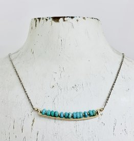 Handmade Earrings with 14k Gold Filled Bar with 4mm Faceted Turquoise on Sterling Chain Necklace