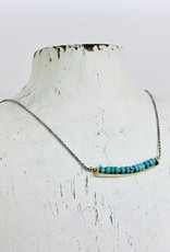 J&I Handmade Earrings with 14k Gold Filled Bar with 4mm Faceted Turquoise on Sterling Chain Necklace