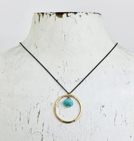 J&I Handmade Necklace with 14k Gold Filled Circle with 8mm Faceted Arizona Turquoise on Oxidized Sterling Chain