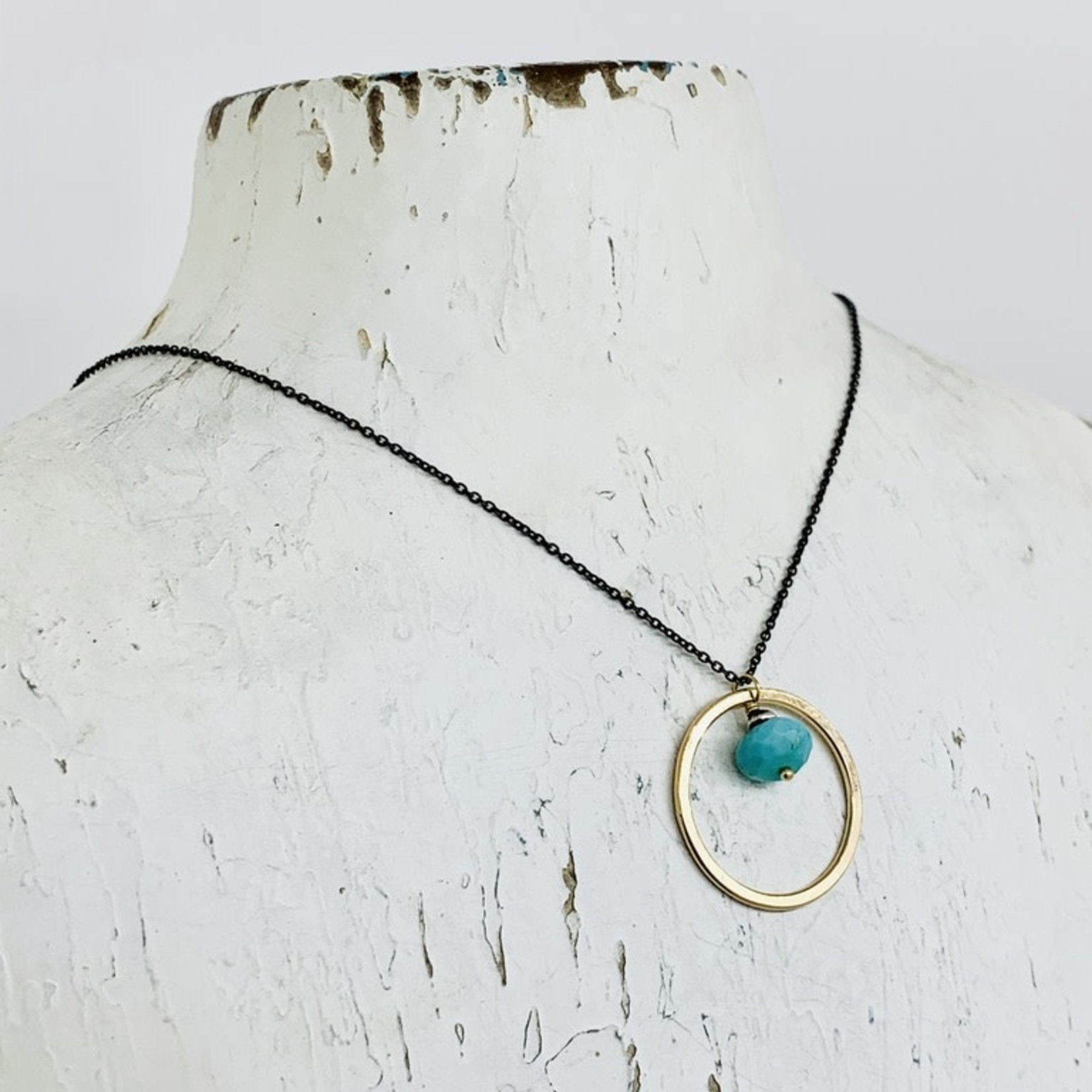 Handmade Necklace with 14k Gold Filled Circle with 8mm Faceted Arizona Turquoise on Oxidized Sterling Chain
