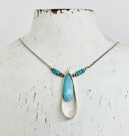 Handmade Necklace with 25mm Faceted Arizona Turquoise in 14kt Gold Filled Terdrop on Oxidized Sterling Chain