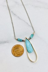 J&I Handmade Necklace with 25mm Faceted Arizona Turquoise in 14kt Gold Filled Terdrop on Oxidized Sterling Chain