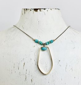 Handmade Necklace with 14k Gold Filled Shape with Faceted Arizona Turquoise on Oxidized Sterling Chain