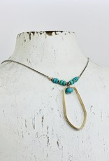 J&I Handmade Necklace with 14k Gold Filled Shape with Faceted Arizona Turquoise on Oxidized Sterling Chain