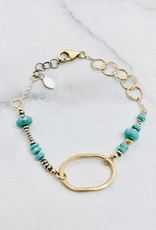 Handmade Bracelet with 14kt Gold Filled Oval with Faceted Turquoise and Sterling