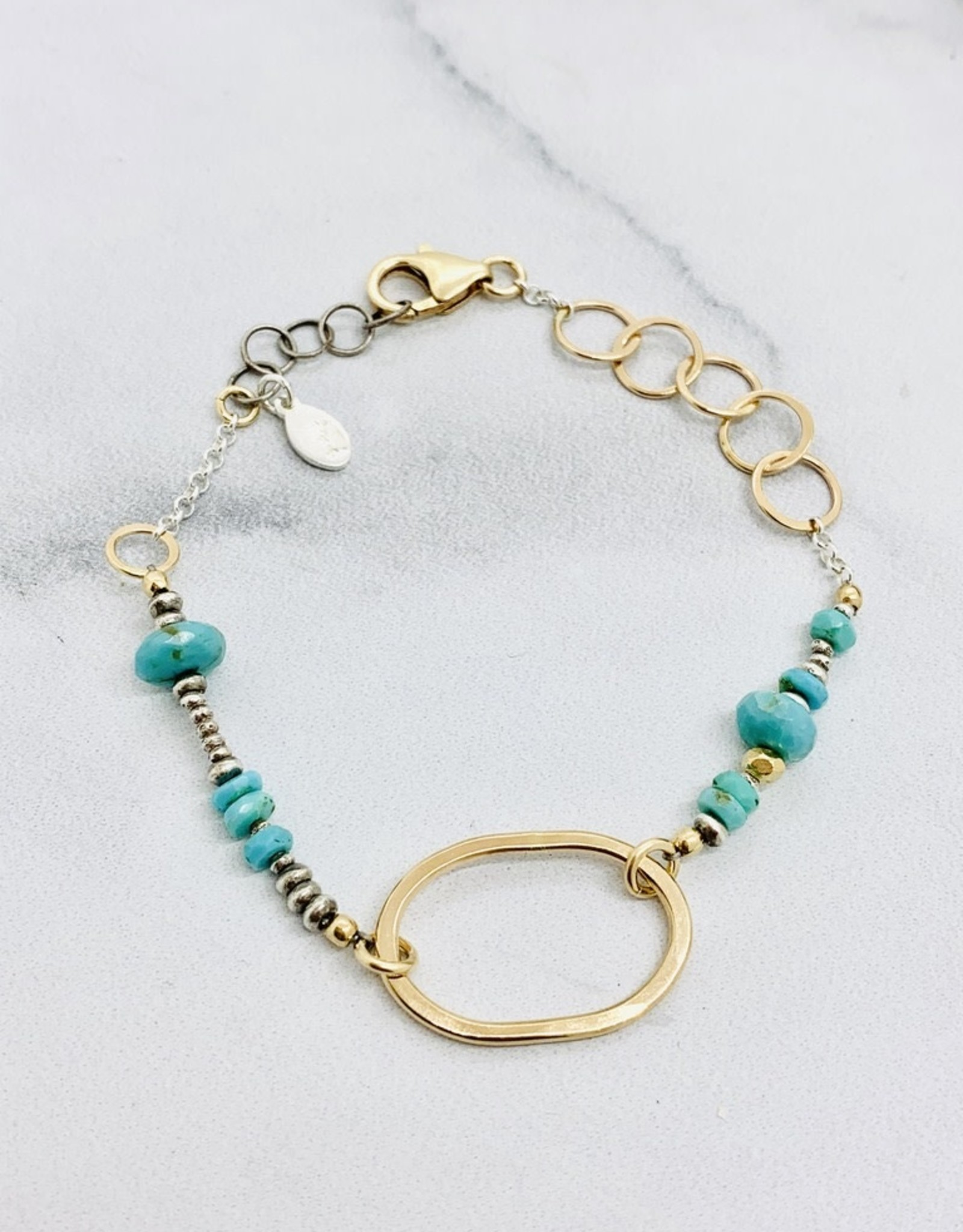 J&I Handmade Bracelet with 14kt Gold Filled Oval with Faceted Turquoise and Sterling