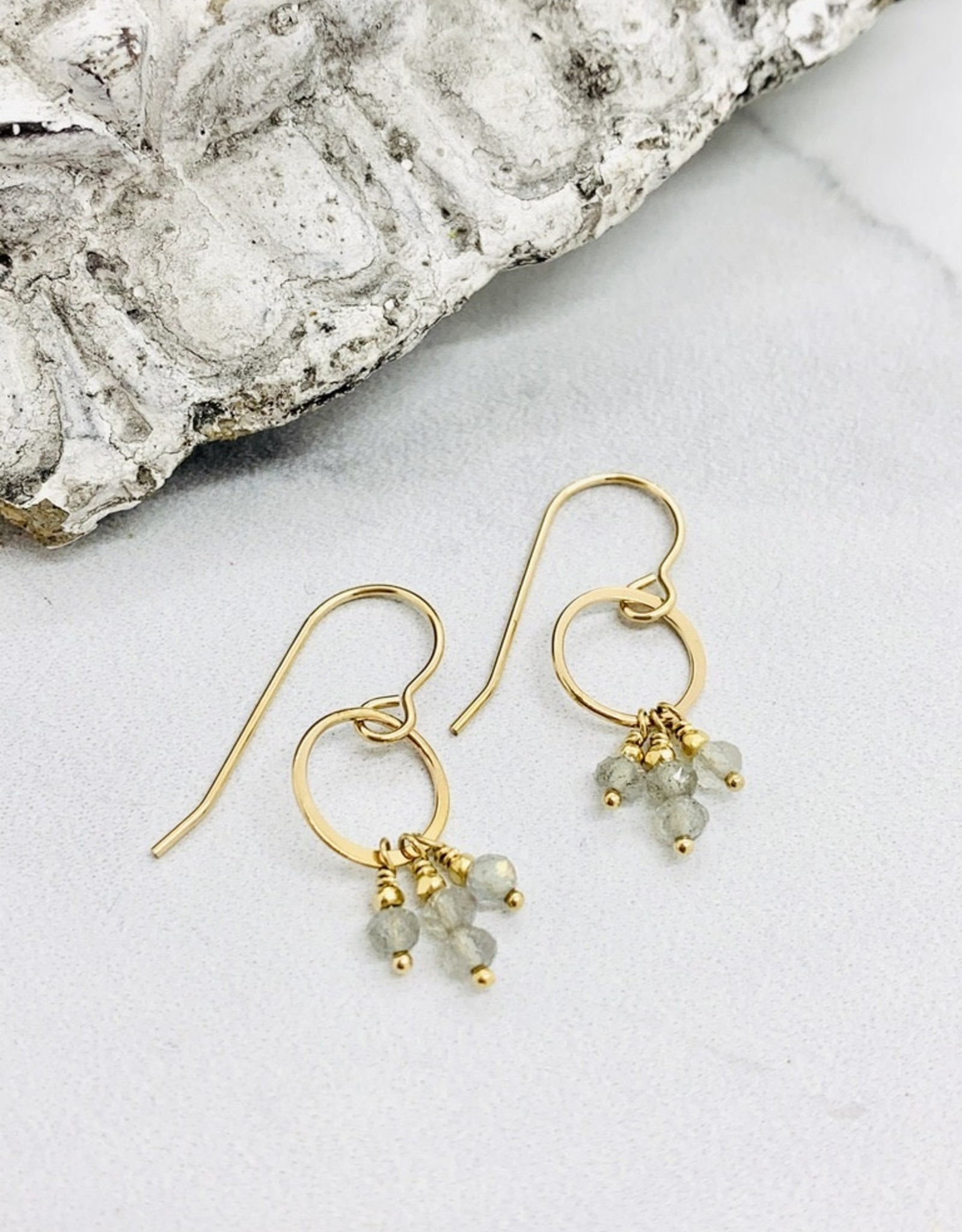 Handmade 14kt Gold Filled Circle with 3mm Faceted Labradorite Earrings