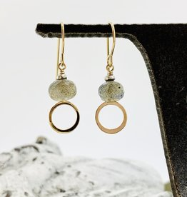 Handmade 8mm Faceted Labradorite Coin in 14kt Gold filled Circle Earrings
