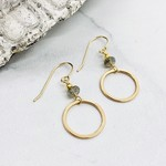 Handmade Earrings with 6mm Faceted Labradorite and 14k Gold Filled Hoop Dangle Earrings