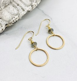 J&I Handmade Earrings with 6mm Faceted Labradorite and 14k Gold Filled Hoop Dangle Earrings