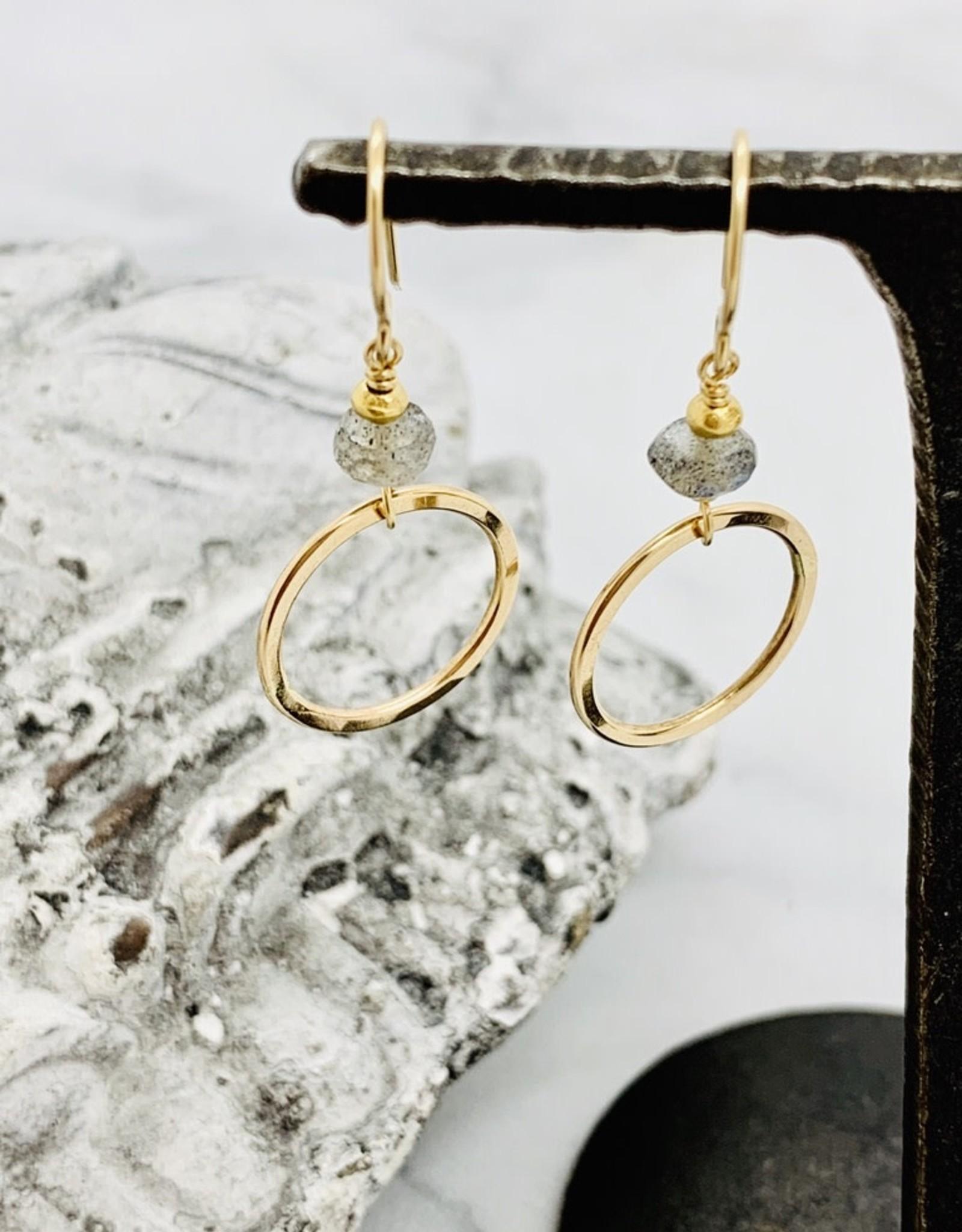 J&I Handmade Earrings with 6mm Faceted Labradorite and 14k Gold Filled Hoop Dangle Earrings