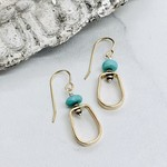 Handmade Earrings with 14k Gold Filled Shape with 8mm Faceted Arizona Turquoise