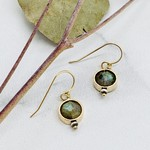 Handmade Earrings with 8mm Faceted Labradorite in 14k Gold Filled Circle Earrings