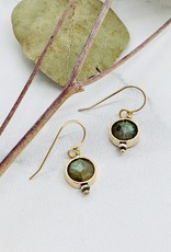 J&I Handmade Earrings with 8mm Faceted Labradorite in 14k Gold Filled Circle Earrings