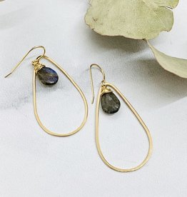 J&I Handmade Faceted 12mm Labradorite pear in 14kt Gold filled Teardrop Earring