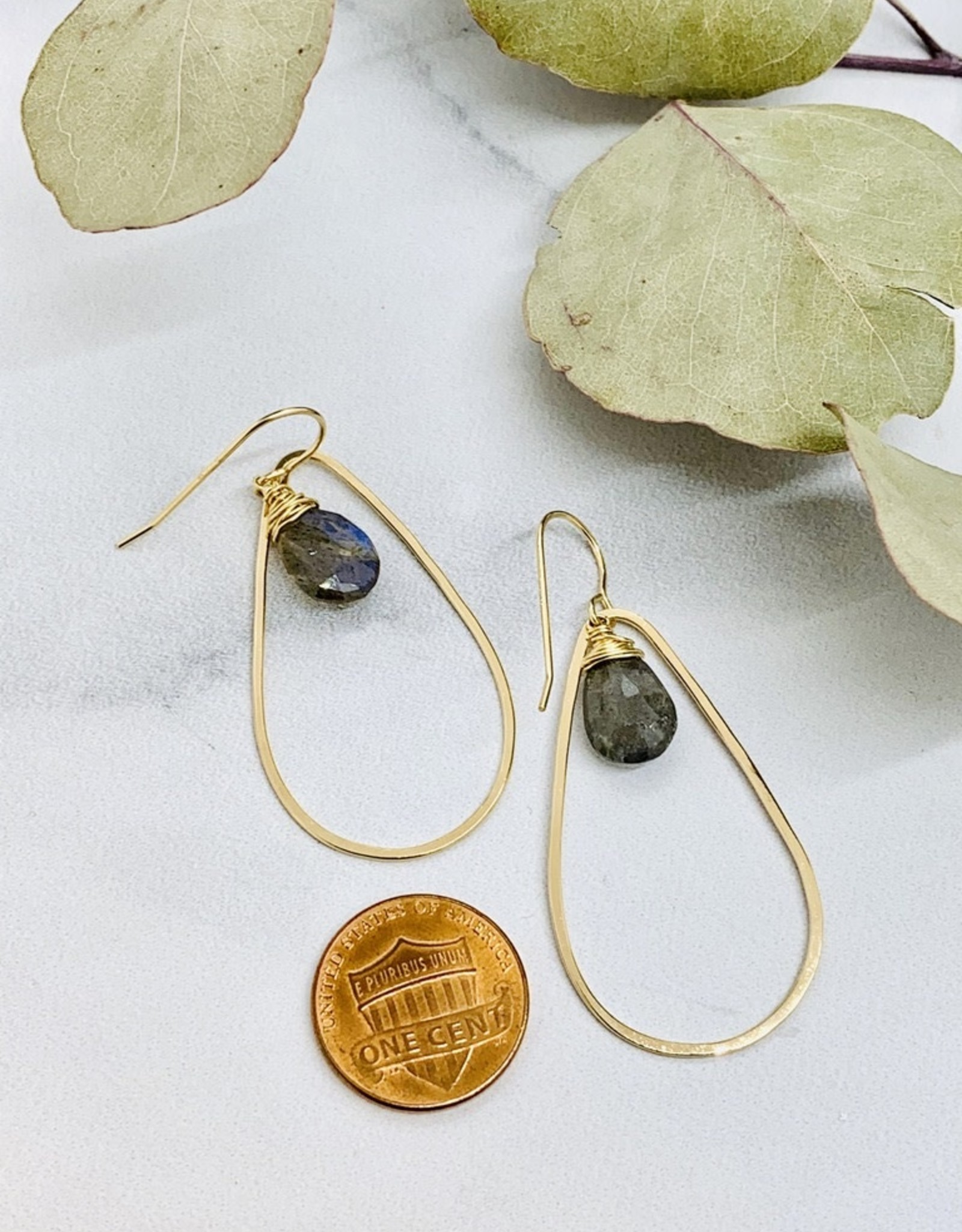 Handmade Faceted 12mm Labradorite pear in 14kt Gold filled Teardrop Earring