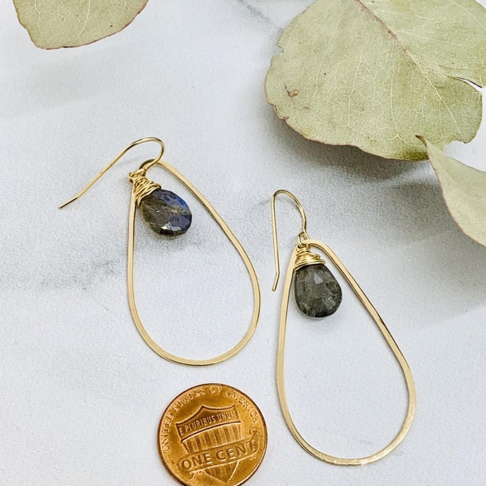 Handmade Faceted 12mm Labradorite pear in 14kt Gold filled Teardrop Earring