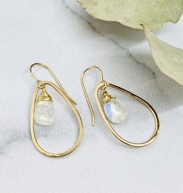 Handmade Earrings with 12mm Faceted Moonstone in 14kt Gold Fill Teardrop