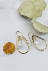J&I Handmade Earrings with 12mm Faceted Moonstone in 14kt Gold Fill Teardrop