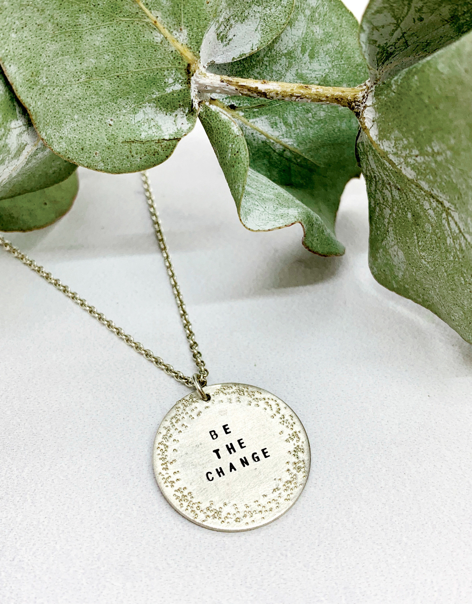 """Handmade Silver """"BE THE CHANGE"""" Diamond Dusted Small Coin Necklace, 16/18"""""""