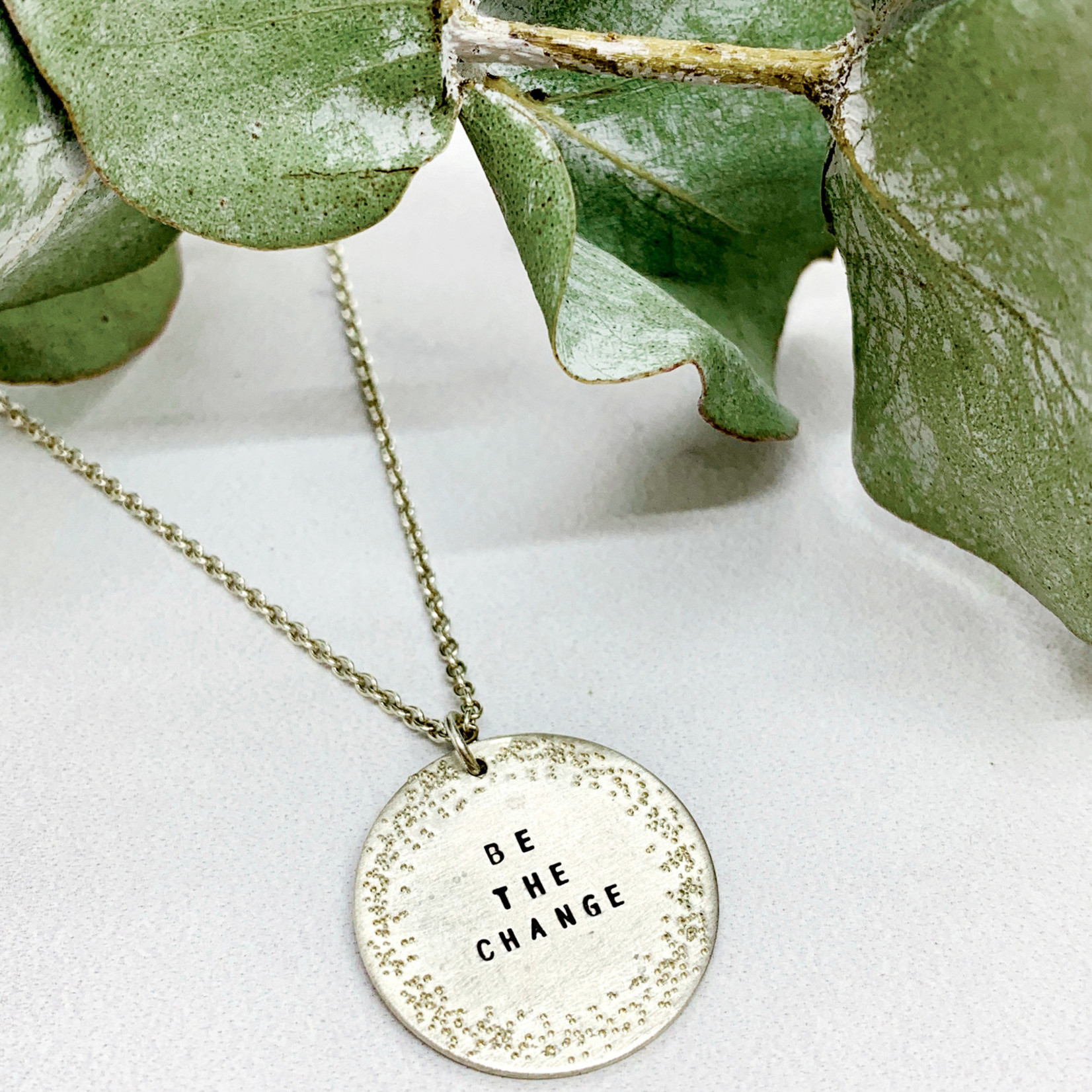 "Handmade Silver ""BE THE CHANGE"" Diamond Dusted Small Coin Necklace, 16/18"""