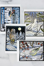 Hashimoto Winter Birds Seasons Greetings Boxed Holiday Cards 20 Cards & Envelopes, 5 each of 4 designs