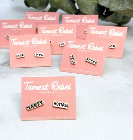 Tamest Rebel Sterling Silver Statement Stud Earrings