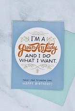 I'm A Grown Ass Woman Sticker Birthday Card