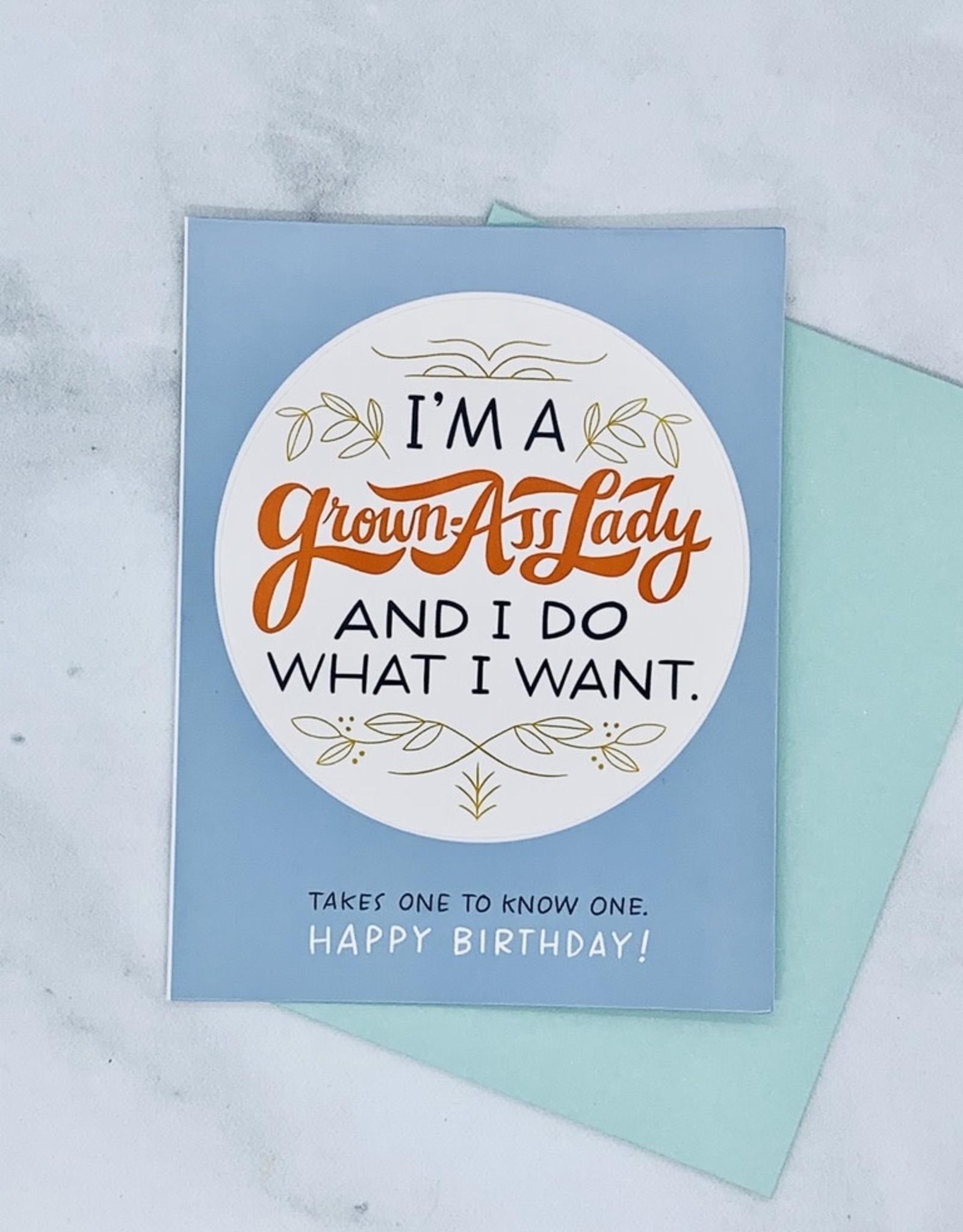 emily mcdowell I'm A Grown Ass Woman Sticker Birthday Card