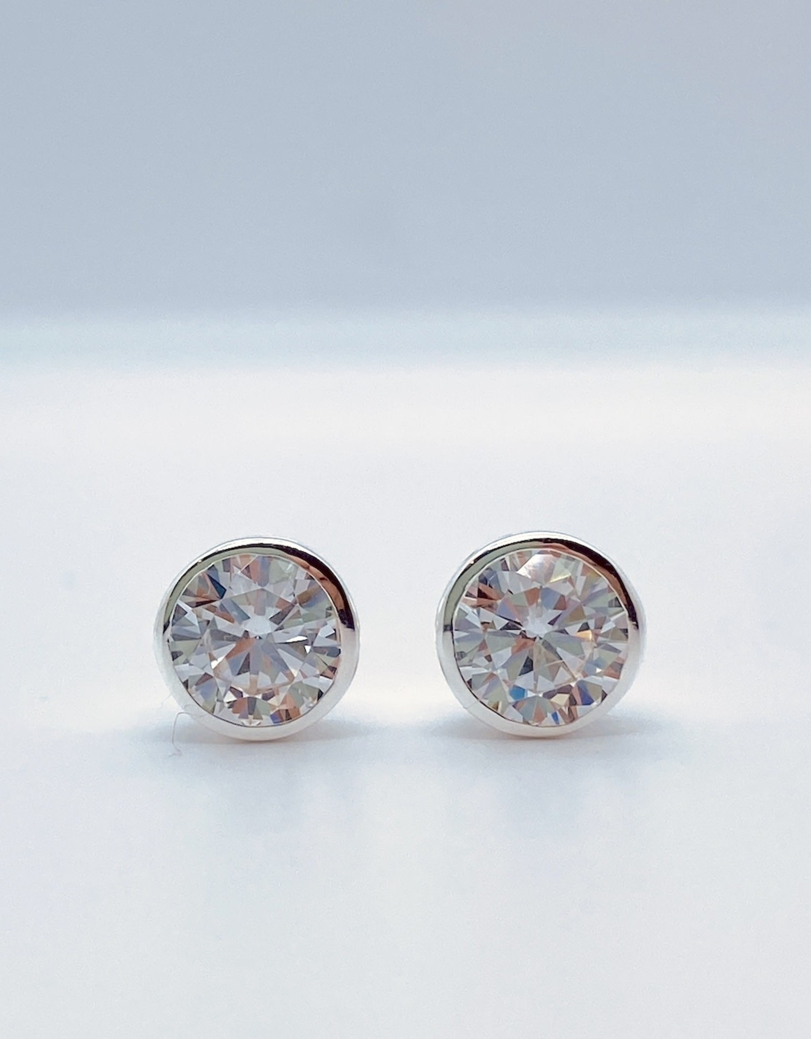 Silver Bezel Set CZ Stud Earrings, 7mm