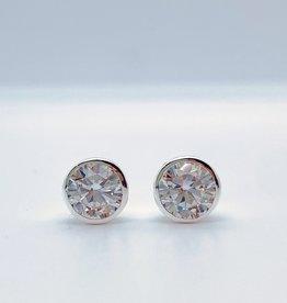 Silver Bezel Set CZ Stud Earrings, 7mm