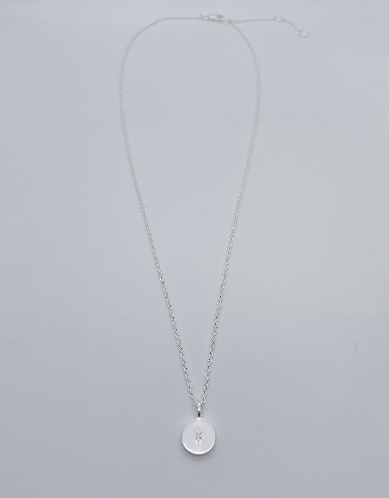 Brushed Sterling Silver Disc with star-set cz necklace
