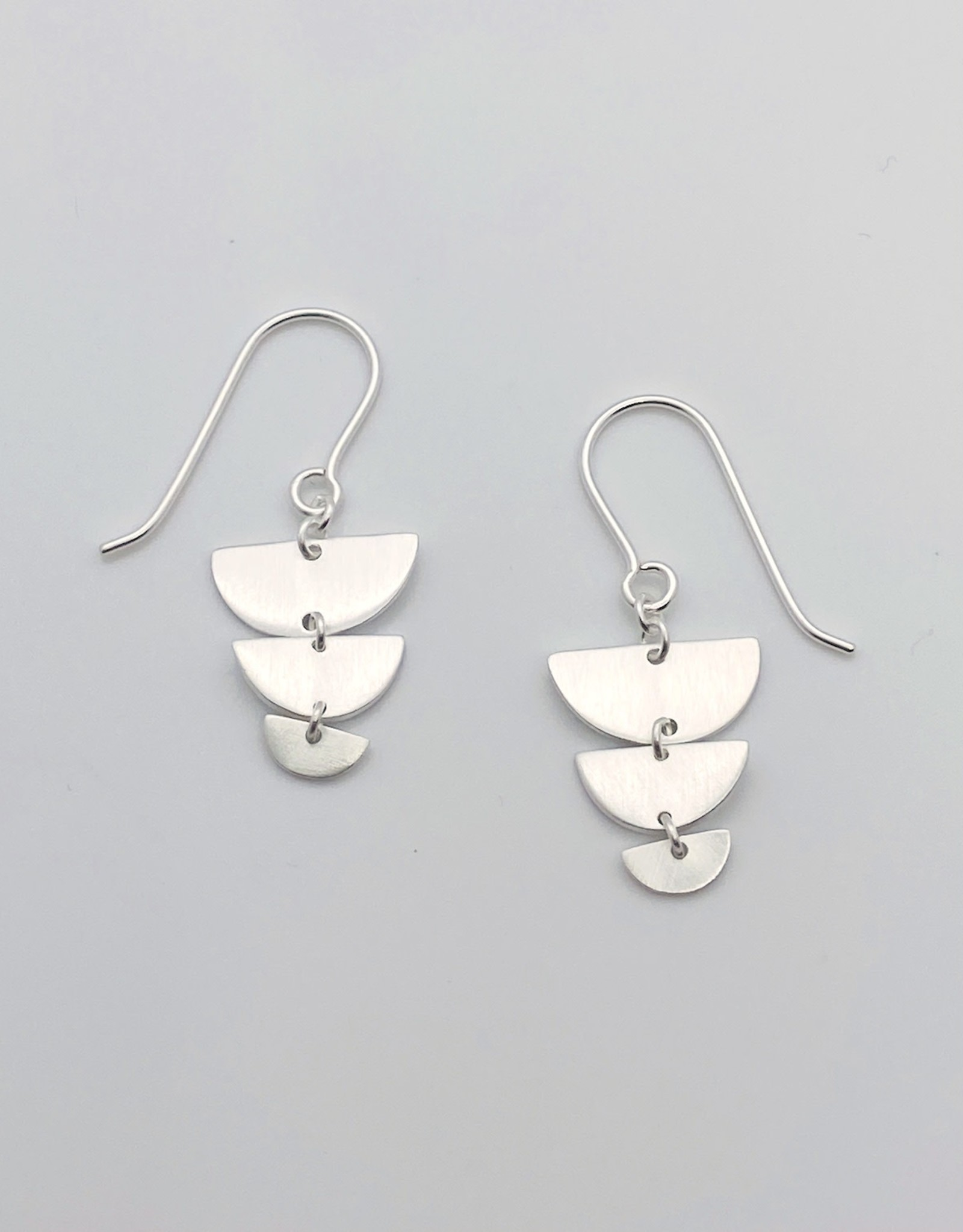 Brushed Silver Graduated 1/2 Circle Earrings