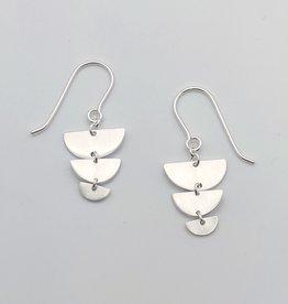 Tashi Brushed Silver Graduated 1/2 Circle Earrings