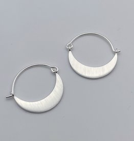 Brushed Sterling Silver Crescent Hoop