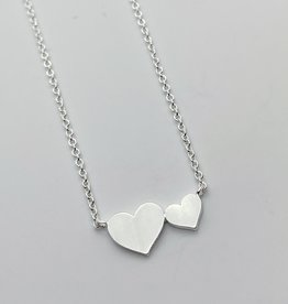 Brushed Sterling Silver Big and Little Hearts Necklace