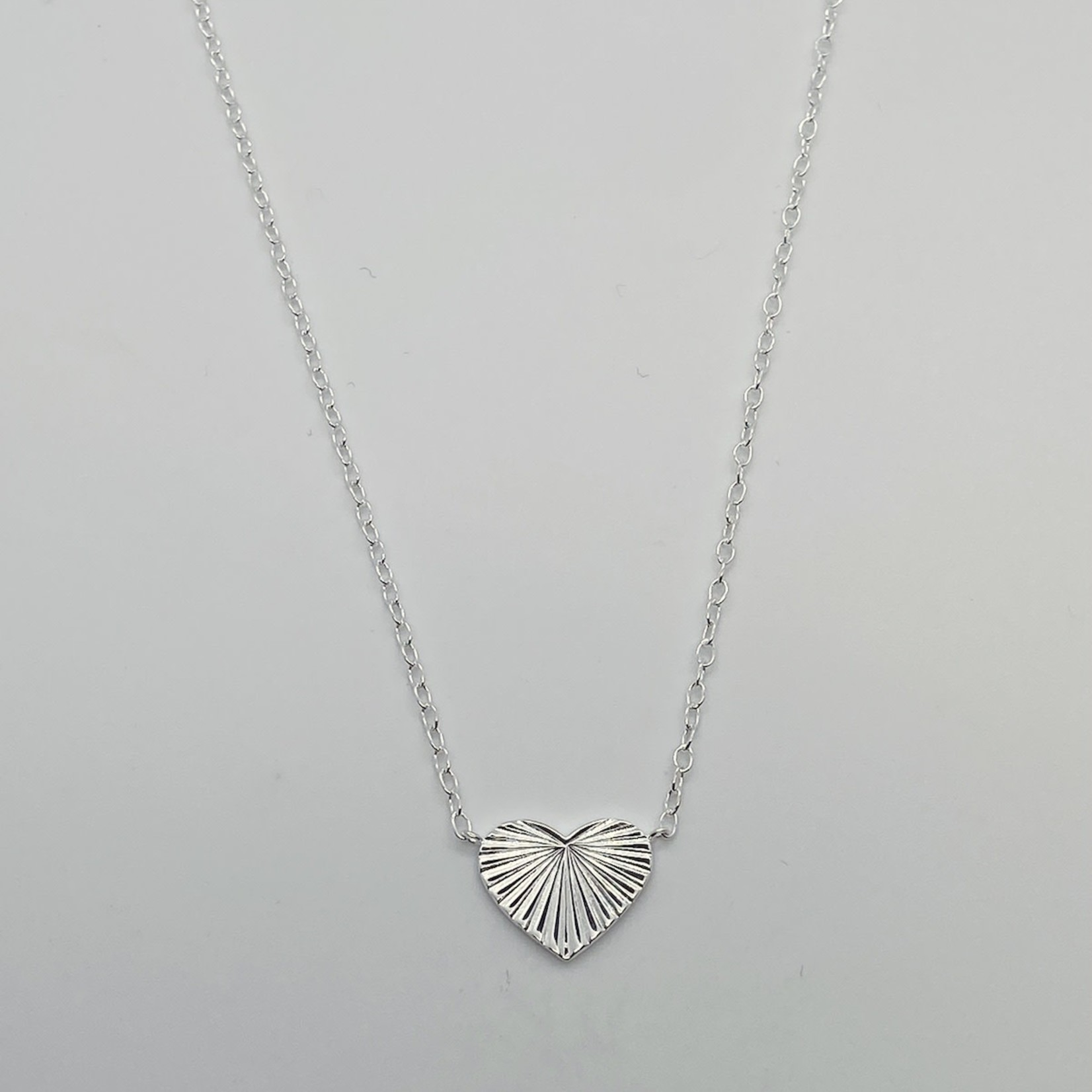 Silver Heart with Rays Necklace